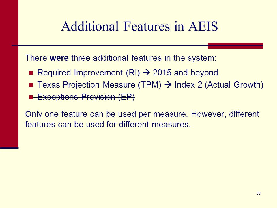 Additional Features in AEIS There were three additional features in the system: Required Improvement (RI)  2015 and beyond Texas Projection Measure (TPM)  Index 2 (Actual Growth) Exceptions Provision (EP) Only one feature can be used per measure.