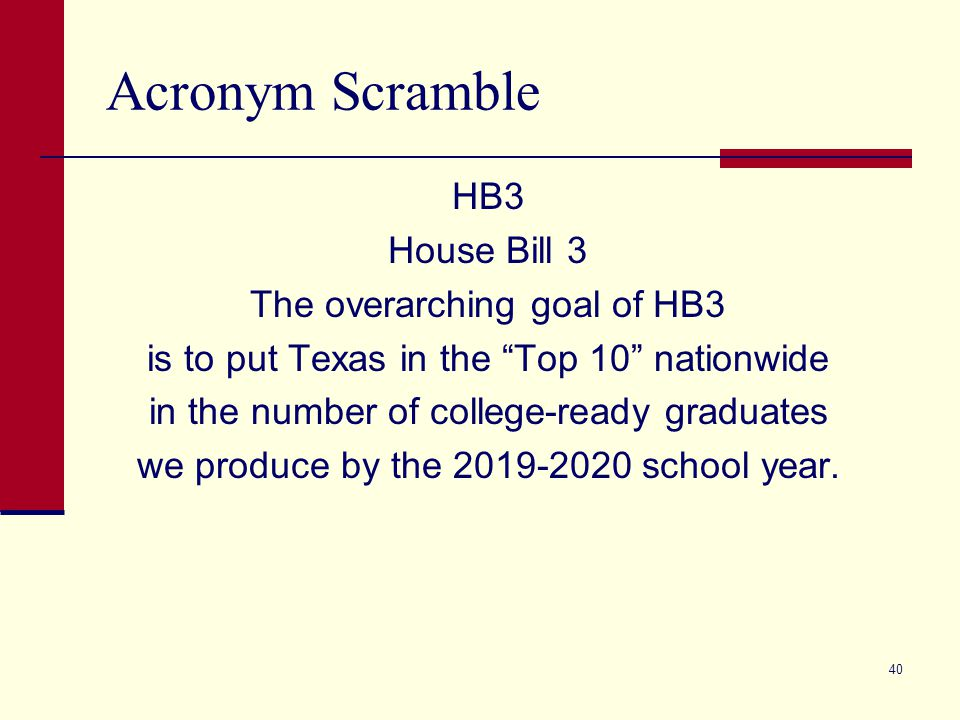 """Acronym Scramble HB3 House Bill 3 The overarching goal of HB3 is to put Texas in the """"Top 10"""" nationwide in the number of college-ready graduates we p"""