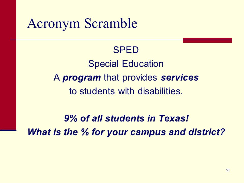 Acronym Scramble SPED Special Education A program that provides services to students with disabilities.