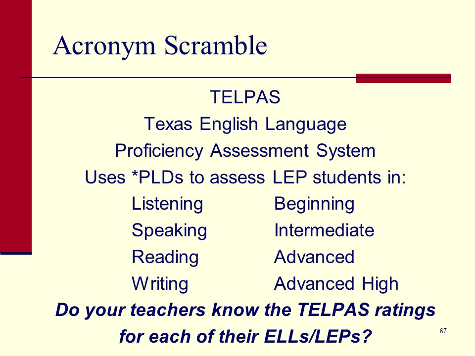 Acronym Scramble TELPAS Texas English Language Proficiency Assessment System Uses *PLDs to assess LEP students in: ListeningBeginning SpeakingIntermediate ReadingAdvanced WritingAdvanced High Do your teachers know the TELPAS ratings for each of their ELLs/LEPs.