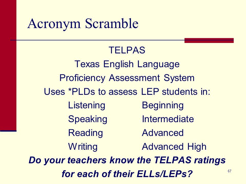 Acronym Scramble TELPAS Texas English Language Proficiency Assessment System Uses *PLDs to assess LEP students in: ListeningBeginning SpeakingIntermed