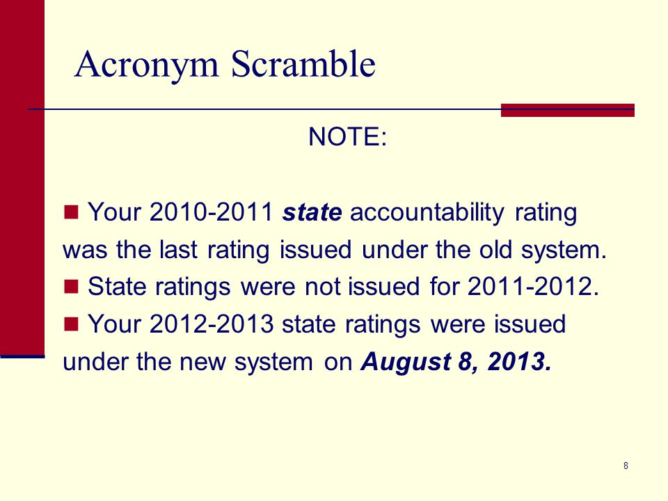 Acronym Scramble NOTE: Your 2010-2011 state accountability rating was the last rating issued under the old system.