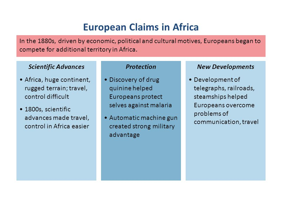 In the 1880s, driven by economic, political and cultural motives, Europeans began to compete for additional territory in Africa. Africa, huge continen