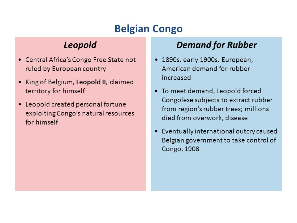 1890s, early 1900s, European, American demand for rubber increased To meet demand, Leopold forced Congolese subjects to extract rubber from region's r