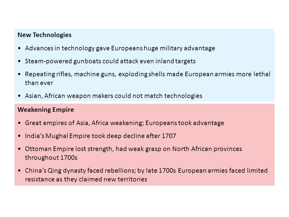 Weakening Empire Great empires of Asia, Africa weakening; Europeans took advantage India's Mughal Empire took deep decline after 1707 Ottoman Empire l