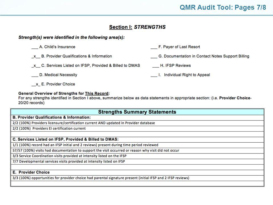 QMR Audit Tool: Pages 7/8