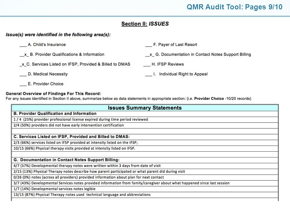 QMR Audit Tool: Pages 9/10