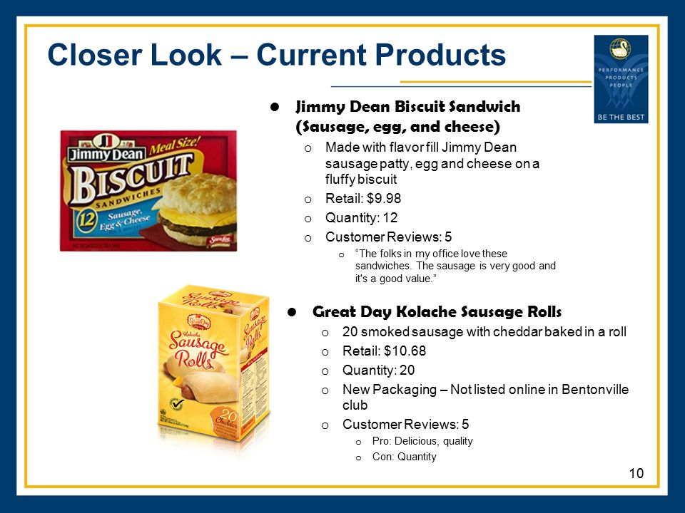 Closer Look – Current Products Great Day Kolache Sausage Rolls o 20 smoked sausage with cheddar baked in a roll o Retail: $10.68 o Quantity: 20 o New