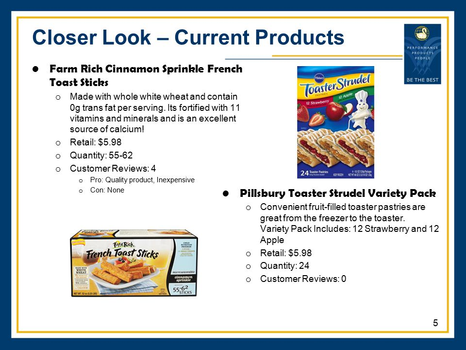 Closer Look – Current Products Farm Rich Cinnamon Sprinkle French Toast Sticks o Made with whole white wheat and contain 0g trans fat per serving. Its