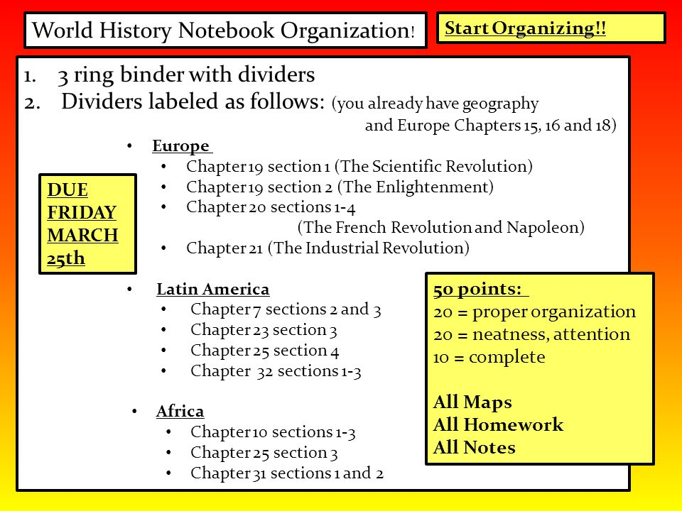 World History Notebook Organization ! 1.3 ring binder with dividers 2. Dividers labeled as follows: (you already have geography and Europe Chapters 15