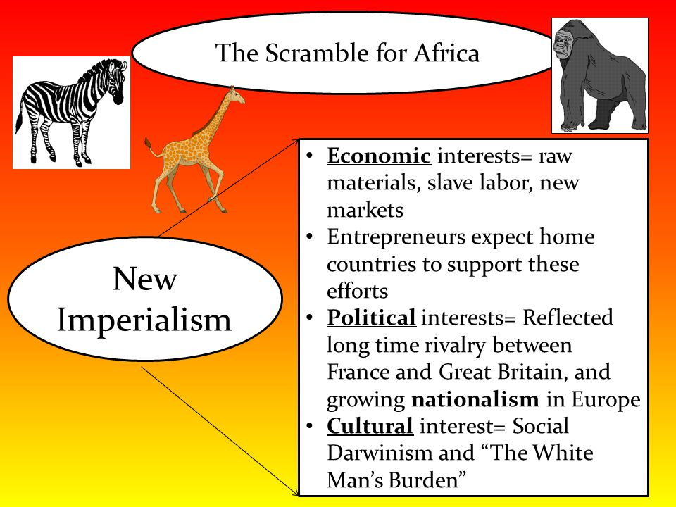The Scramble for Africa New Imperialism Economic interests= raw materials, slave labor, new markets Entrepreneurs expect home countries to support the