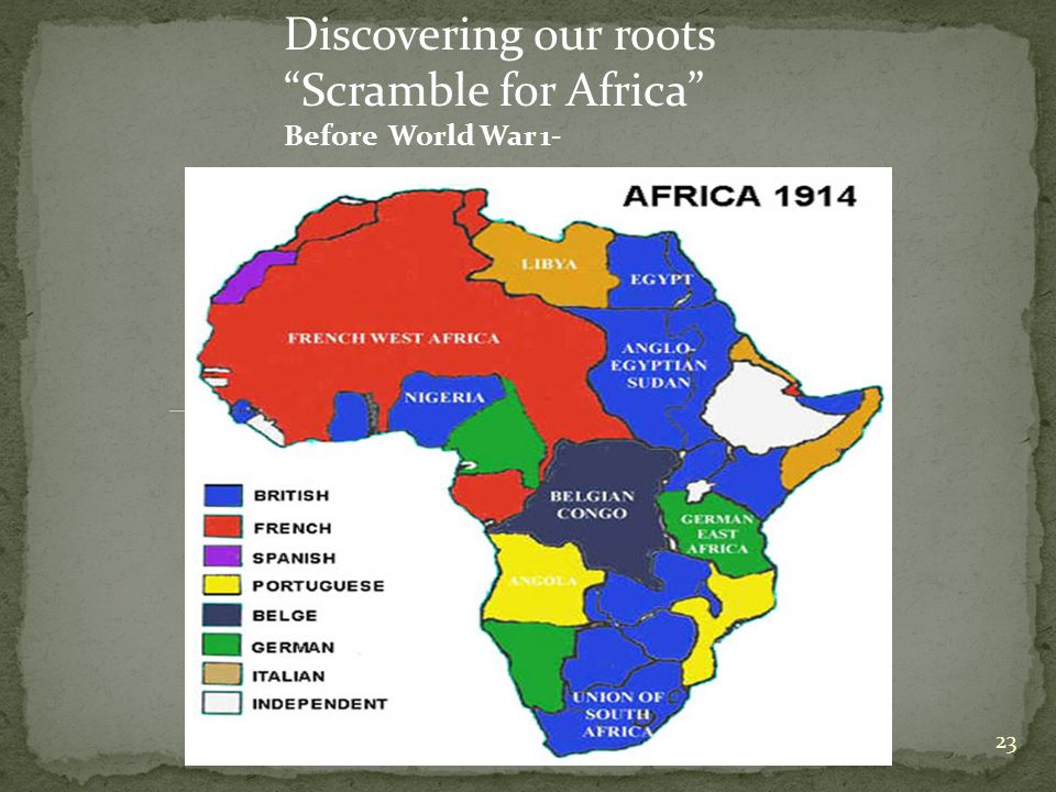 23 Discovering our roots Scramble for Africa Before World War 1-