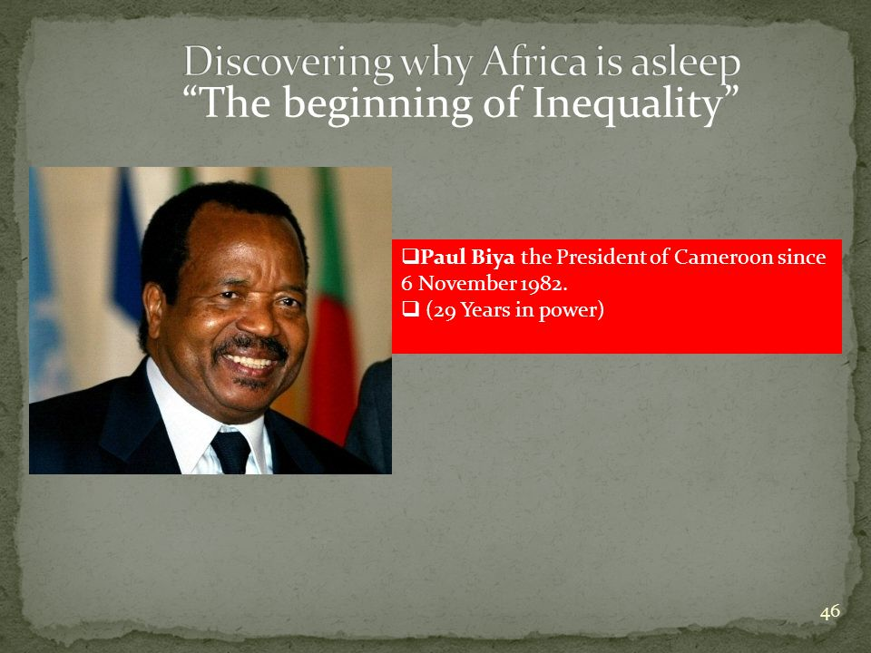46  Paul Biya the President of Cameroon since 6 November 1982.  (29 Years in power)