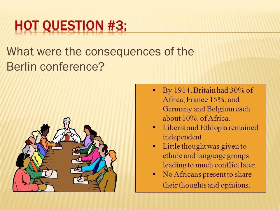  Berlin Conference, 1884-1885  European nations met to lay down rules for the division of Africa. (Read/Highlight/Share) European leaders decided th