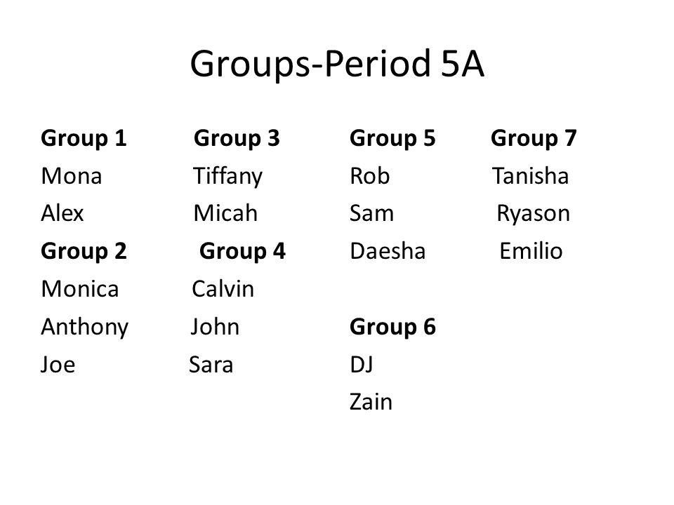 Groups-Period 5A Group 1 Group 3 Mona Tiffany Alex Micah Group 2 Group 4 Monica Calvin Anthony John Joe Sara Group 5 Group 7 Rob Tanisha Sam Ryason Da