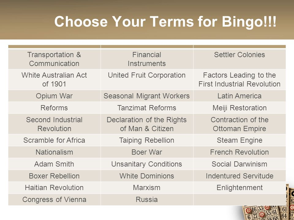 Choose Your Terms for Bingo!!.