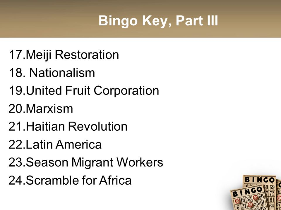 Bingo Key, Part III 17.Meiji Restoration 18.