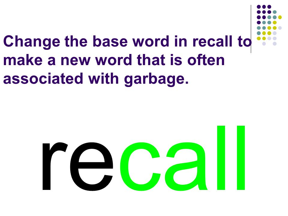 recall You should have spelled…