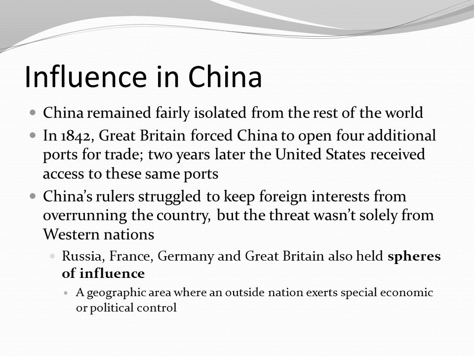 The Open Door Policy The United States was too late to secure a sphere of influence in China and American leaders feared that the United States would be shut out of the valuable Chinese trade, as a result, Secretary of State John Hay proposed the Open Door Policy The Open Door Policy – All nations shall have equal trading rights in China