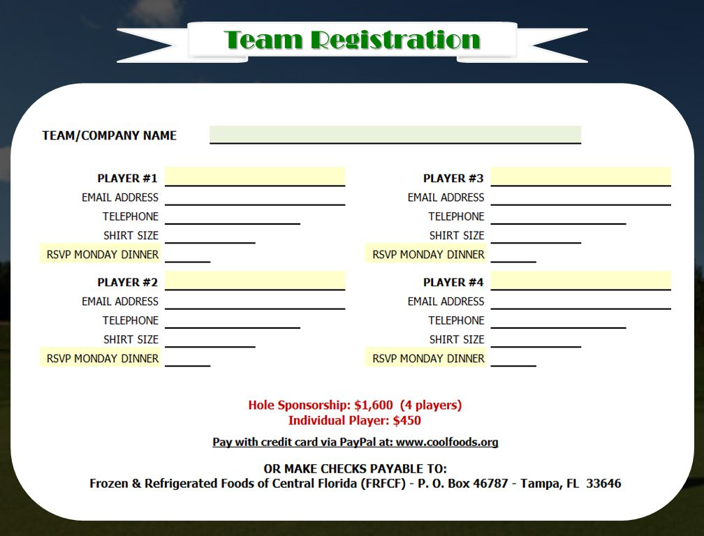 Monday Team Registration Monday
