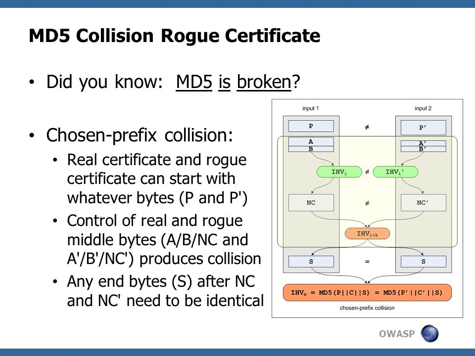 OWASP MD5 Collision Rogue Certificate Did you know: MD5 is broken.