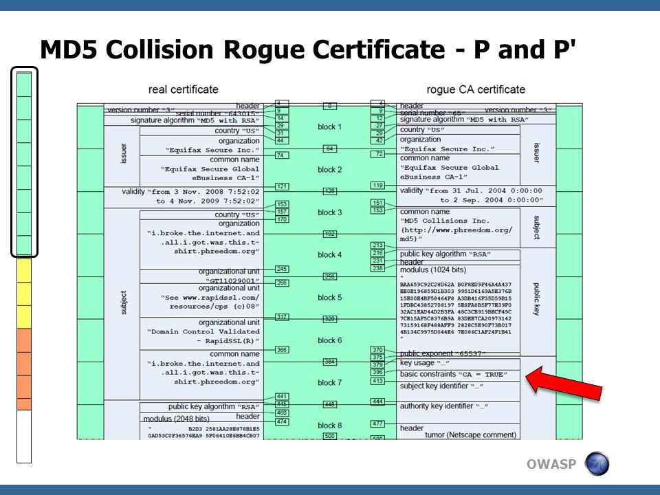 OWASP MD5 Collision Rogue Certificate - P and P