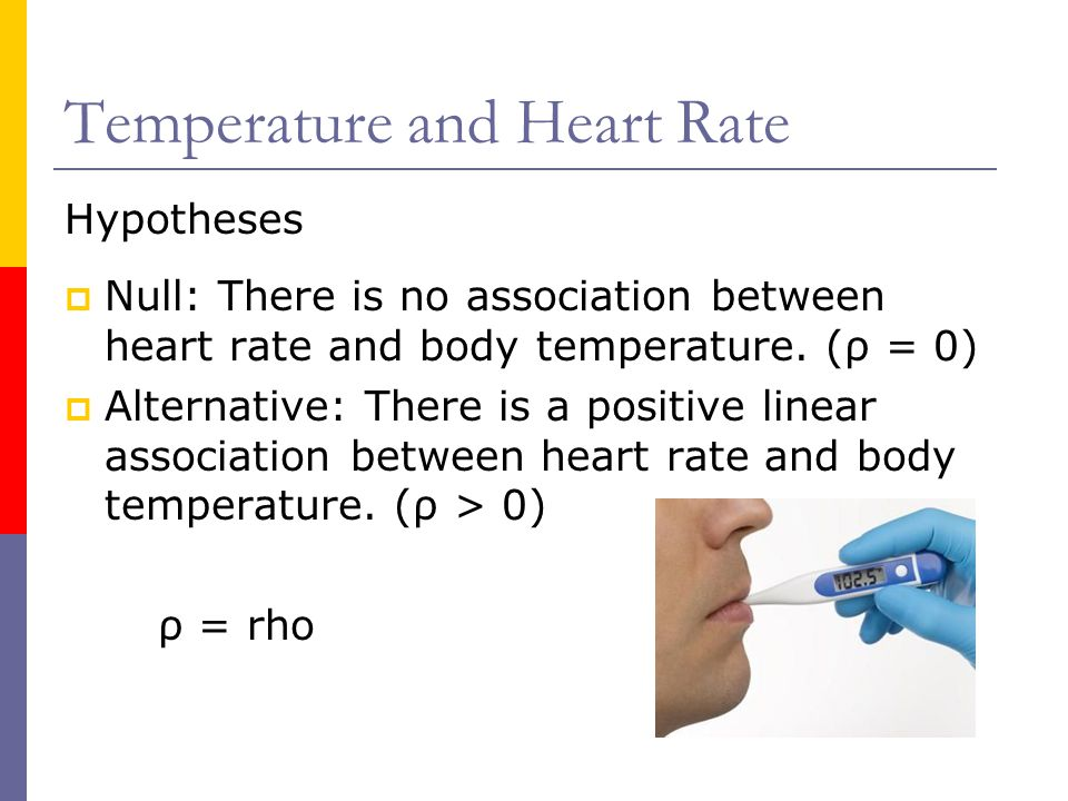 Temperature and Heart Rate Hypotheses  Null: There is no association between heart rate and body temperature.
