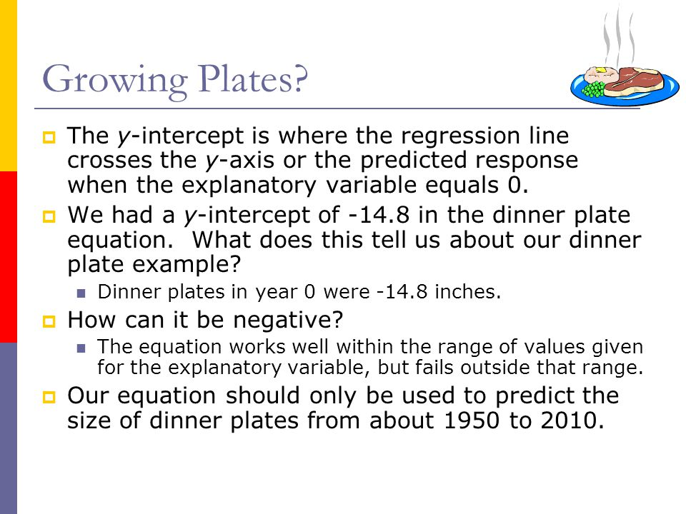  The y-intercept is where the regression line crosses the y-axis or the predicted response when the explanatory variable equals 0.