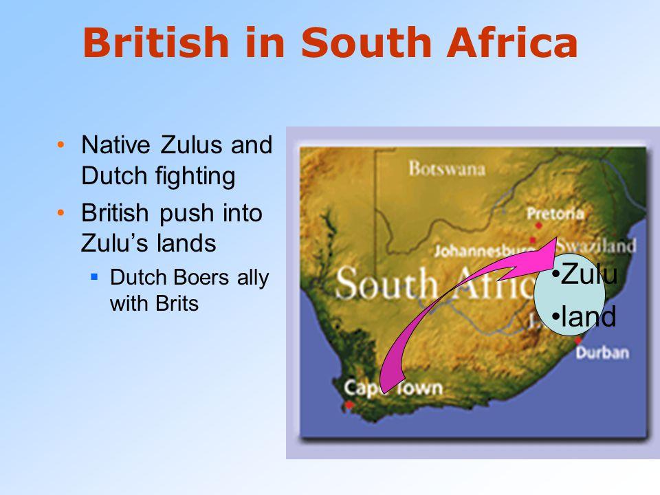 "British in South Africa Dutch had first settled the Cape Colony in South Africa  Dutch settlers called Boers (Dutch word for ""farmer"") Early 1800s -B"