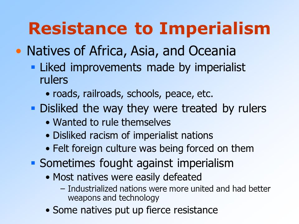 Resistance to Imperialism