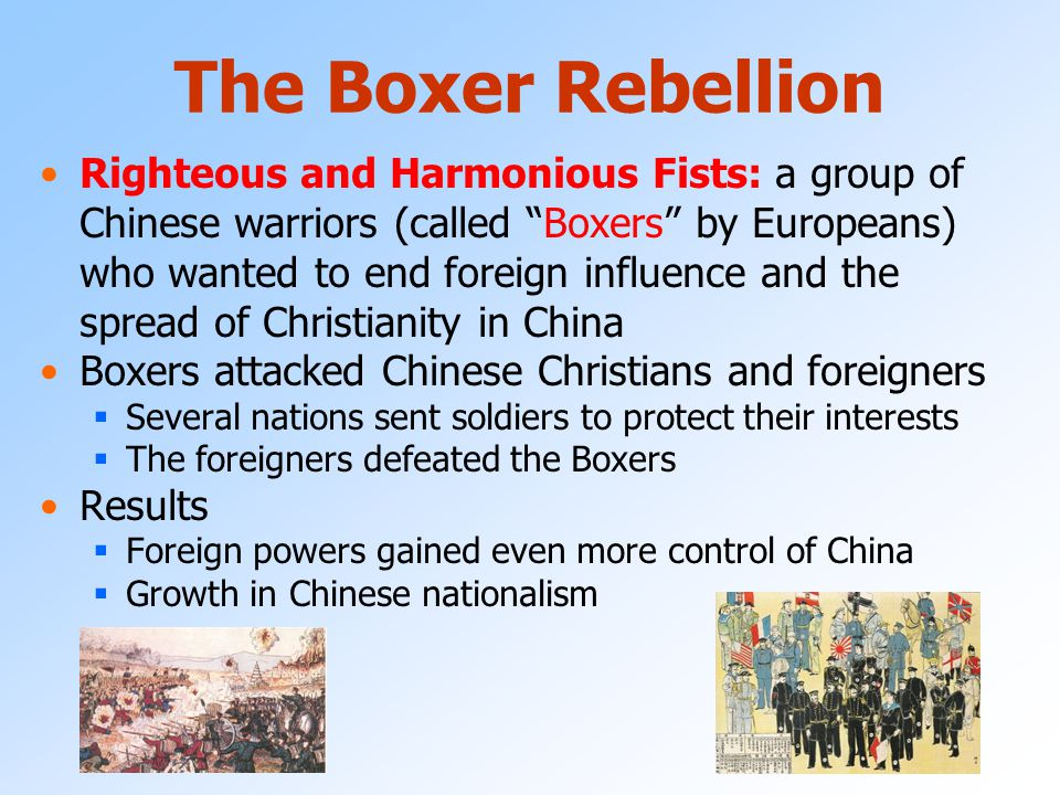 In the early 1900's China's government was very weak and could not keep other countries from taking control of its ports Open Door Policy: the policy