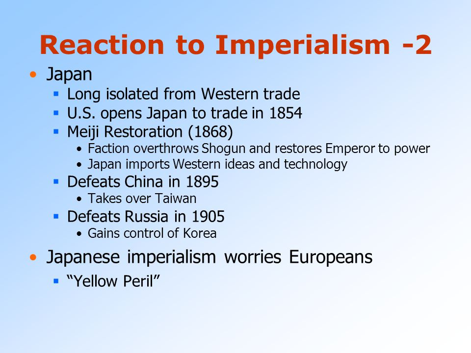 Reaction to Imperialism -1 Rise of Nationalist Movements  India Indian National Congress (1885) Group of middle class Indians begin to demand indepen