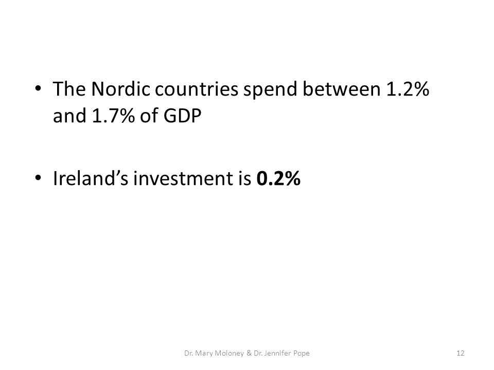 The Nordic countries spend between 1.2% and 1.7% of GDP Ireland's investment is 0.2% 12Dr. Mary Moloney & Dr. Jennifer Pope