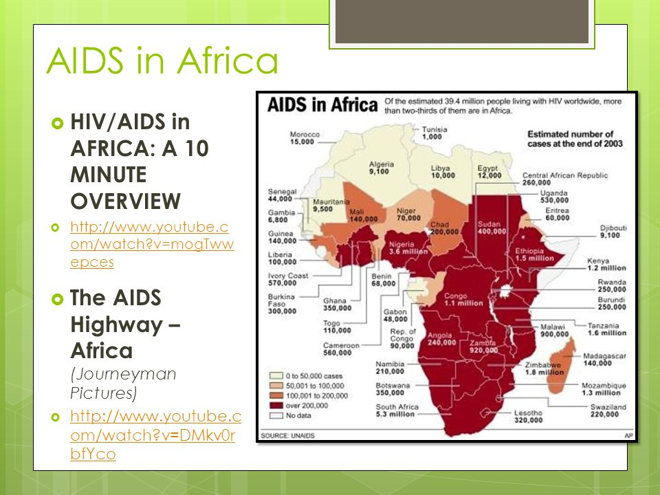 AIDS in Africa  HIV/AIDS in AFRICA: A 10 MINUTE OVERVIEW  http://www.youtube.c om/watch?v=mogTww epces http://www.youtube.c om/watch?v=mogTww epces