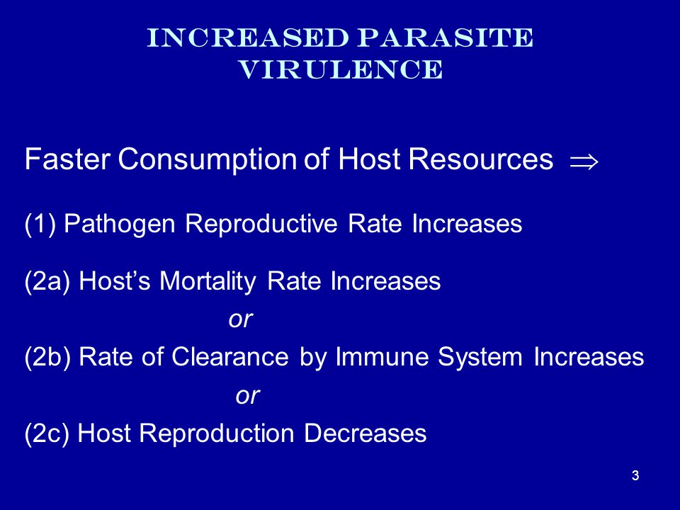 Increased Parasite Virulence Faster Consumption of Host Resources  (1) Pathogen Reproductive Rate Increases (2a) Host's Mortality Rate Increases or (2b) Rate of Clearance by Immune System Increases or (2c) Host Reproduction Decreases 3