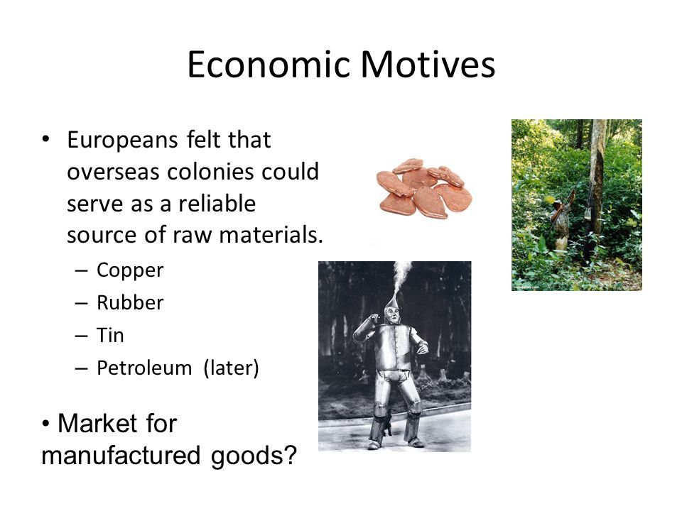 Economic Motives Europeans felt that overseas colonies could serve as a reliable source of raw materials.