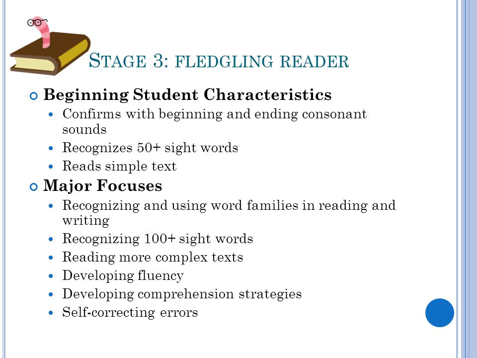 S TAGE 3: FLEDGLING READER Beginning Student Characteristics Confirms with beginning and ending consonant sounds Recognizes 50+ sight words Reads simple text Major Focuses Recognizing and using word families in reading and writing Recognizing 100+ sight words Reading more complex texts Developing fluency Developing comprehension strategies Self-correcting errors
