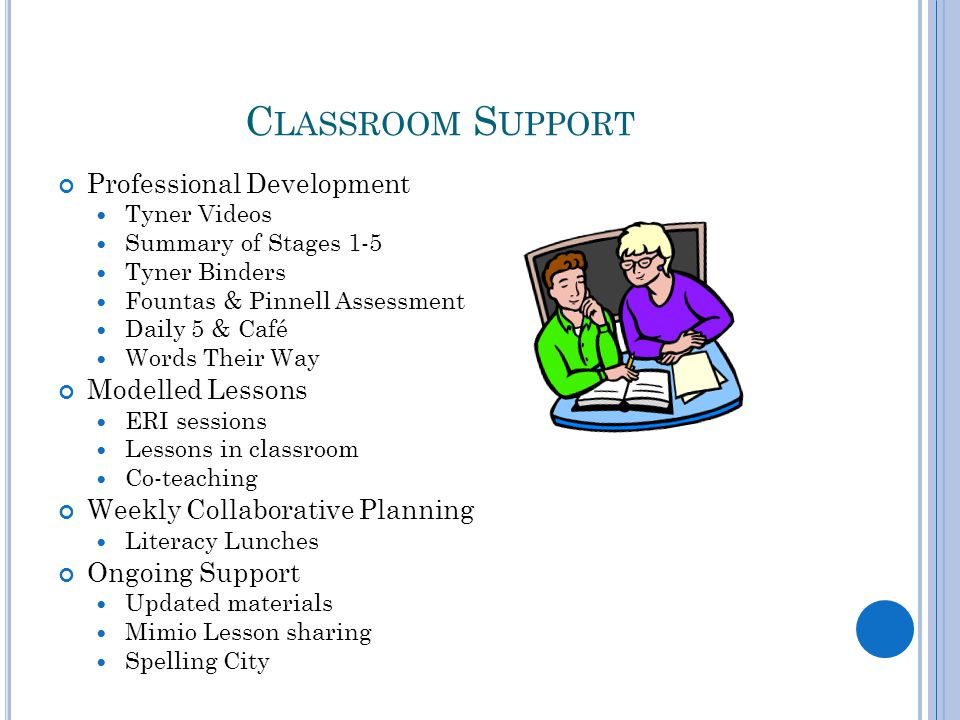 C LASSROOM S UPPORT Professional Development Tyner Videos Summary of Stages 1-5 Tyner Binders Fountas & Pinnell Assessment Daily 5 & Café Words Their Way Modelled Lessons ERI sessions Lessons in classroom Co-teaching Weekly Collaborative Planning Literacy Lunches Ongoing Support Updated materials Mimio Lesson sharing Spelling City