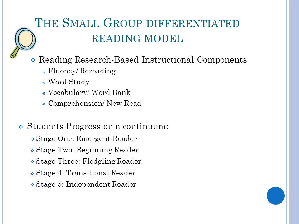 T HE S MALL G ROUP DIFFERENTIATED READING MODEL  Reading Research-Based Instructional Components  Fluency/ Rereading  Word Study  Vocabulary/ Word Bank  Comprehension/ New Read  Students Progress on a continuum:  Stage One: Emergent Reader  Stage Two: Beginning Reader  Stage Three: Fledgling Reader  Stage 4: Transitional Reader  Stage 5: Independent Reader