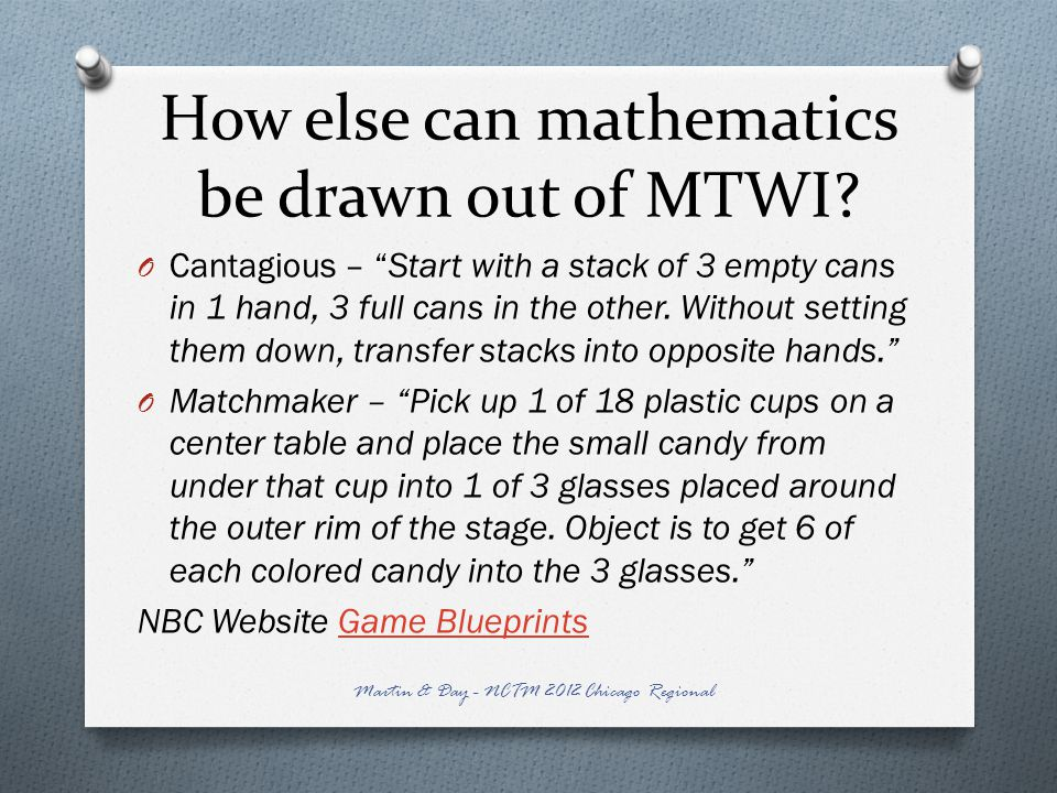 How else can mathematics be drawn out of MTWI.