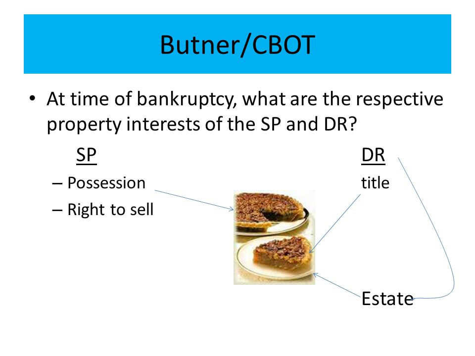 Butner/CBOT At time of bankruptcy, what are the respective property interests of the SP and DR? SPDR – Possessiontitle – Right to sell Estate