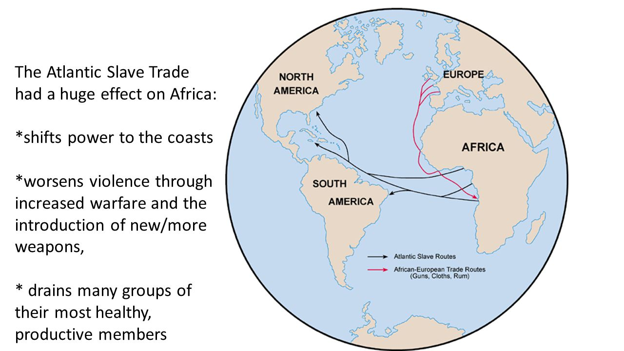 Slave Routes The Atlantic Slave Trade had a huge effect on Africa: *shifts power to the coasts *worsens violence through increased warfare and the introduction of new/more weapons, * drains many groups of their most healthy, productive members