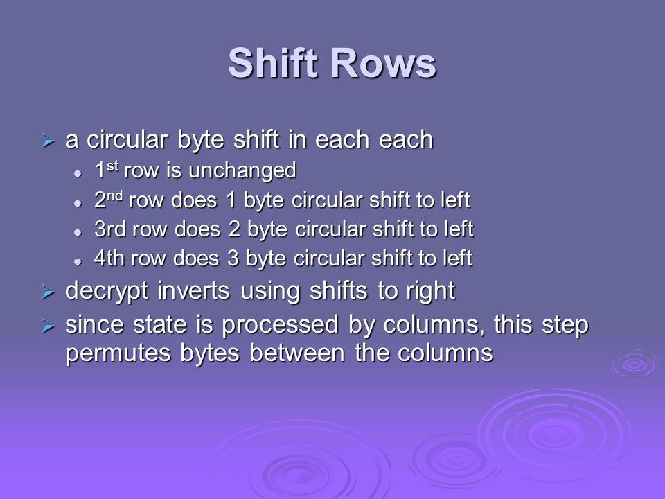 Shift Rows  a circular byte shift in each each 1 st row is unchanged 1 st row is unchanged 2 nd row does 1 byte circular shift to left 2 nd row does