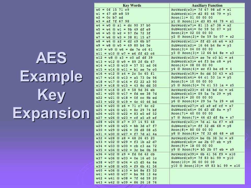 AES Example Key Expansion