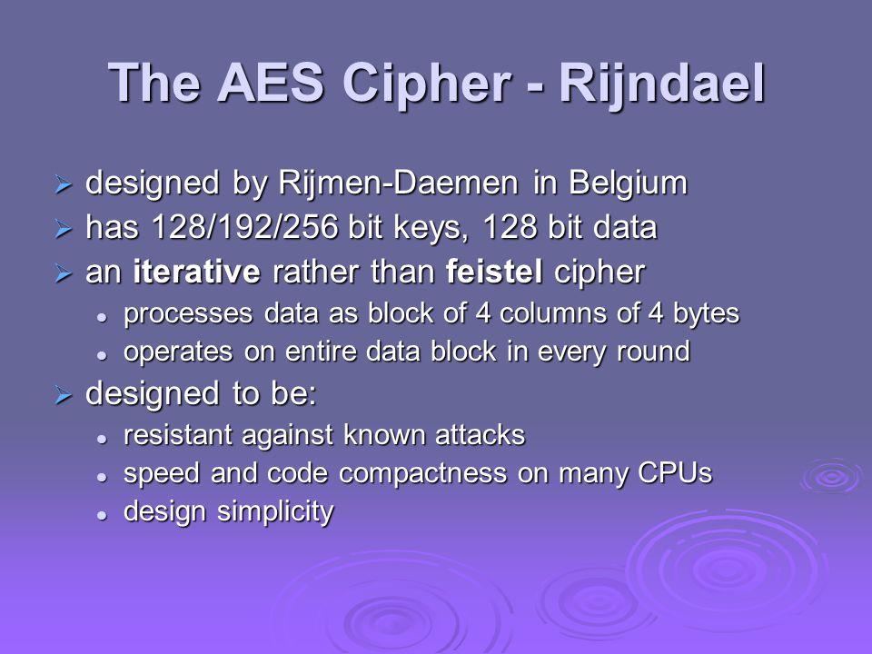 The AES Cipher - Rijndael  designed by Rijmen-Daemen in Belgium  has 128/192/256 bit keys, 128 bit data  an iterative rather than feistel cipher pr