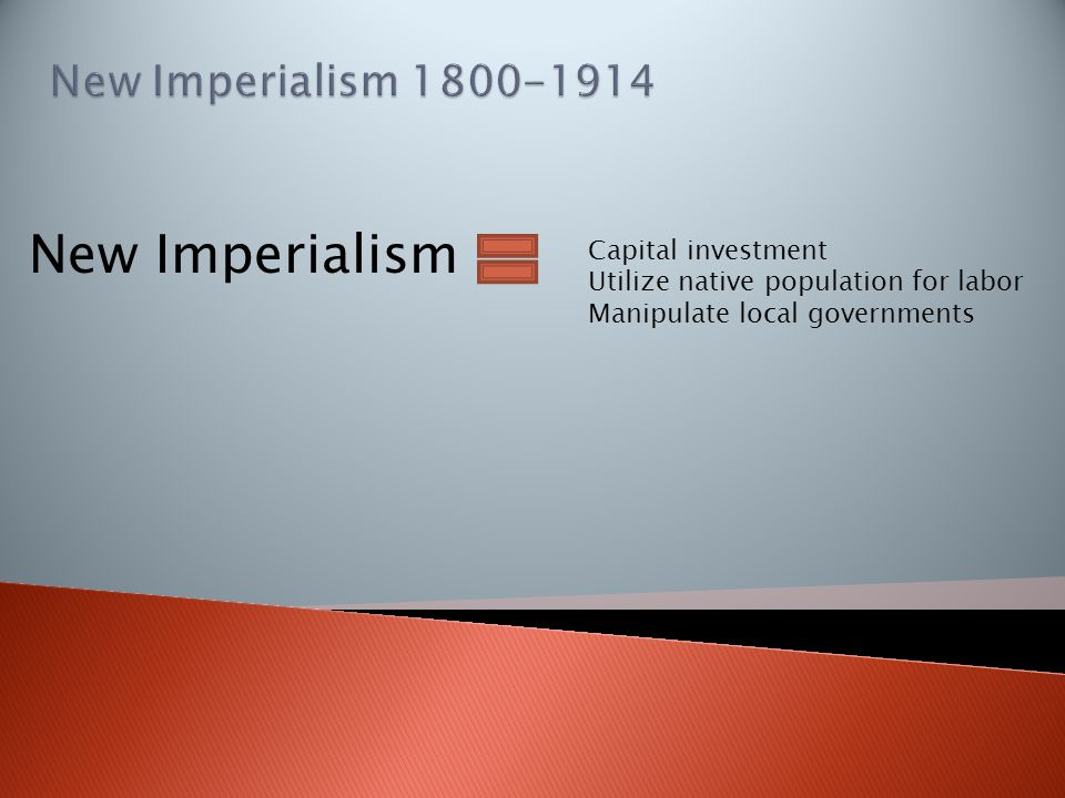 New Imperialism Capital investment Utilize native population for labor