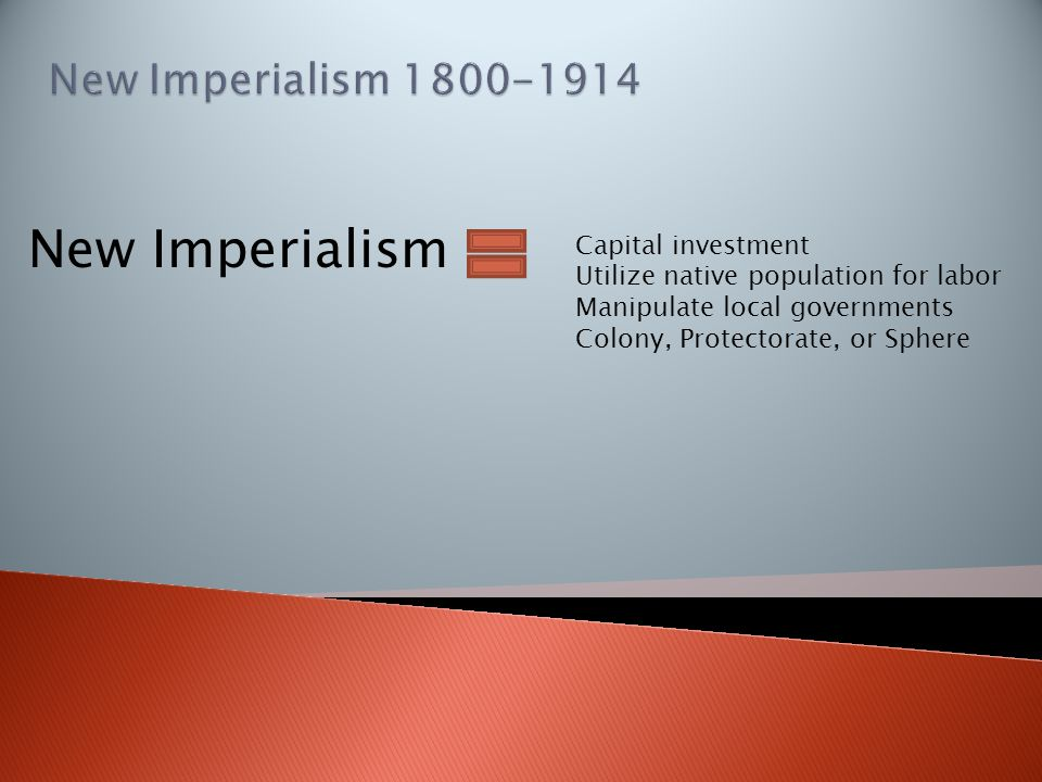 New Imperialism Capital investment Utilize native population for labor Manipulate local governments Colony, Protectorate, or Sphere