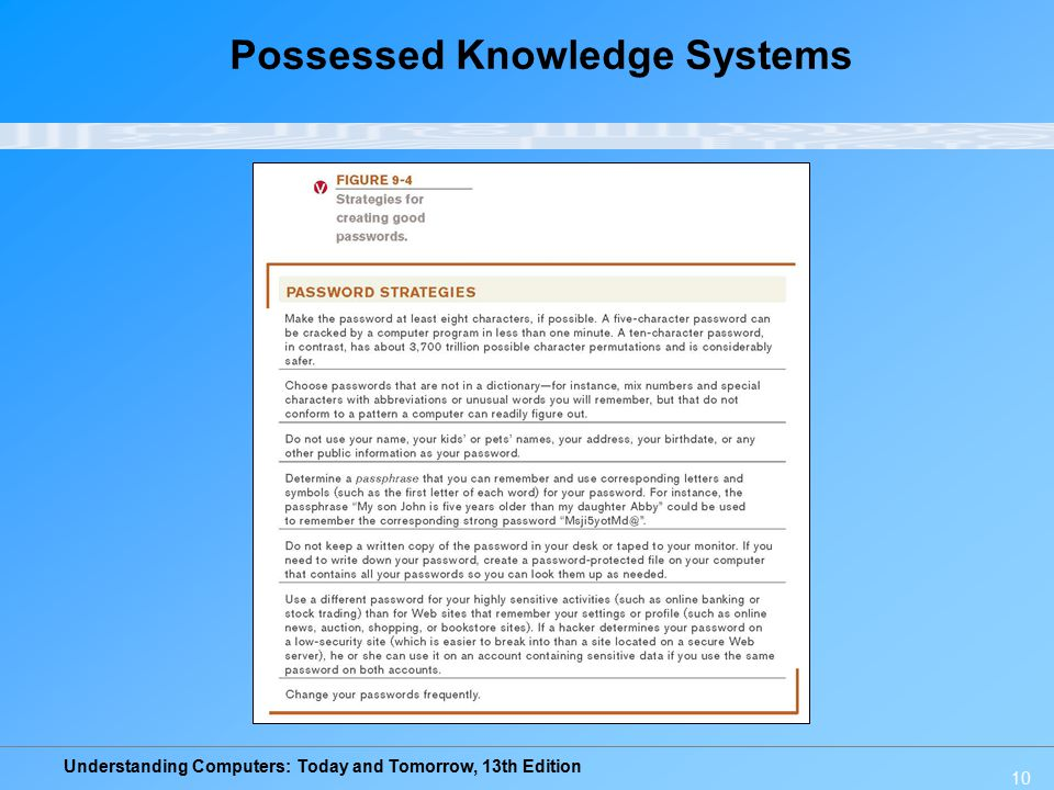 Understanding Computers: Today and Tomorrow, 13th Edition 10 Possessed Knowledge Systems