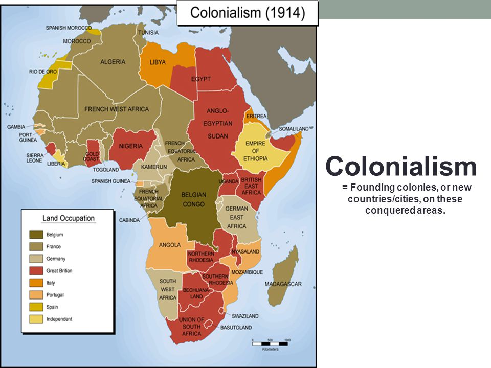Colonialism = Founding colonies, or new countries/cities, on these conquered areas.