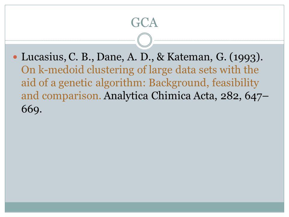 GCA Lucasius, C. B., Dane, A. D., & Kateman, G. (1993).